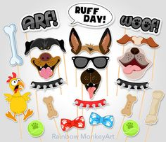 Printable Photo Booth Party Props - Set of 26 props  ★ This listing is for a DIGITAL INSTANT DOWNLOAD FILE only. No physical items will be shipped ★  Perfect for a dog party! Especially for German Shepherd, Rottweiler and Bulldog lovers. This listing is for a printable photo prop set, a great option for the DIYers and last-minute party planners!  Prints perfectly onto any A4 (8.2 x 11.6) or 8.5 x 11 Heavy Weight Paper Card Stock  ◄ INCLUDES ►  10-page PDF file that contain 26 props!  • (1)…
