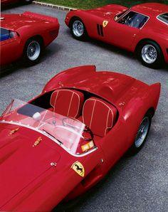 Three legendary Ferrari (from Raplh Lauren Collection): the 250 GTO, 250 TR Testarossa, and 330 TRI LM Spider.
