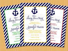 Nautical Baby Shower Invitation Ahoy It's a Boy