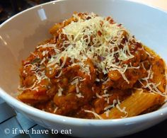 a one-pot Thermomix pasta #recipe for veg. bolognese, #lentils