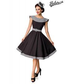 Sehr schönes teilgefüttertes Premium Vintage Swing-Kleid schwarz/weiß von BELSIRA - AT50173. Dieses Retrokleid hat einen nahtfeinen Reißverschluss in der hinteren Mitte und der Gürtel mit dem Gurtschieber ist inklusive. Rockabilly Pin Up, Steampunk Mode, Pin Up Mode, Gothic Mode, Party Mode, Formal Dresses, Material, Style, Products