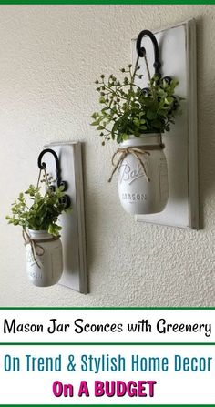 $40.00 These Rustic, Farmhouse-style Mason jar sconces are the perfect touch to your home decor. They bring warmth and beauty to any room. The decorative edges on these beauties make such a statement. Elegant and charming! #homedecor #cheap #rustic #budget #AD #home #decor #ideas #diyhomedecor #interior #interiordesign #design #house #style #affordable #farmhouse #country #love #beautiful #sale #WallSconces #homedecorationstylesbeautiful #rustichomedecorcheap
