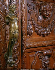 """Ornate doors and door handles in """"Villa Huegel"""", former home of the Krupp family, leading German steel barons from the late 18th century to the end of World War II. 1873.   Villa Huegel, Essen, Germany"""