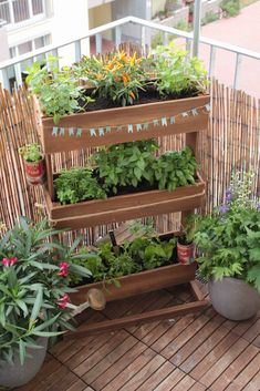 The best planters for the self-catering balcony - Ideen für Balkon & Garten/ Garden & Balcony - Design RatBalcony Plants tan Furniture Garden Types, Diy Garden, Indoor Garden, Outdoor Gardens, Herbs Garden, Garden Bed, Small Patio Gardens, Balcony Herb Gardens, Wall Gardens