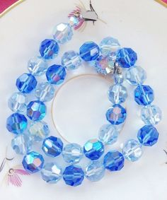 Blue Crystal Necklace - Aurora Borealis Bead Necklace - Blue Choker Necklace - Large Czech Crystal Beads - 1950s Jewelry - Mad Men Necklace