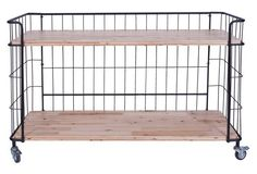 Want this but not the $339 price tag.  2-Tier Metal & Wood Shelf w/ Casters