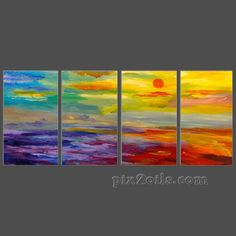 Abstract+Beach+Paintings | Abstract Landscape Oil Painting Abstract beach sunrise, Contemporary ...