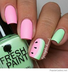 Pink green nail art with fruits