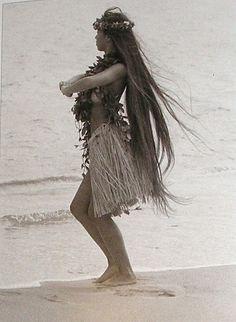 Hawaiian woman in dance costume