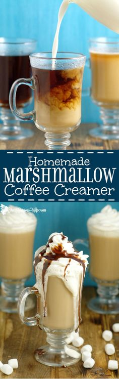 Homemade Marshmallow Coffee Creamer Recipe- A yummy, fun way to change up your morning coffee. It can be made in just 10 minutes, and is a great grown-up treat. by lydia Frappuccino, Frappe, Homemade Coffee Creamer, Coffee Creamer Recipe, Iced Coffee, Coffee Drinks, Coffee Shop, Coffee Maker, Coffee Enema