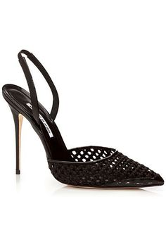 Manolo Blahnik Black Mesh Slingback Pumps Spring Summer 2014 #Manolos #Shoes #Heels