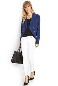 Double-Breasted Cropped Blazer | FOREVER21 - 2000087594