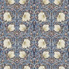 Morris & Co Fabric Pimpernel, Indigo/Hemp Kitchen Wallpaper, Home Wallpaper, Cottage Bathroom Design Ideas, Floor Cloth, Tyga, Linocut Prints, Wall Treatments, Vinyl Flooring, Victorian Homes