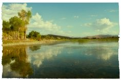 Southwest Landscape  Water  Trees  Clouds  by AroundTheGlobeImages, $30.00