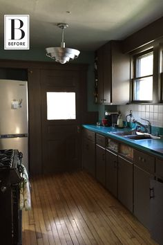 Before & After: A Drab & Dark Kitchen Turned Mint Green Dream
