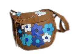 LIBERTY Sac simili cuir fleurs FLOWER POWER bleu turquoise marine blanc fond marron fauve : Sacs bandoulière par catsoo