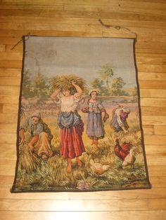 SALE Vintage Tapestry / Belgium Tapestry  Woman by circaonetsy