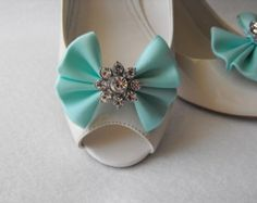 Handmade bow shoe clips with rhinestone center bridal shoe clips wedding accessories in tiffany blue