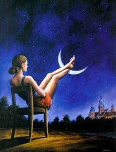 Девушки сидит на стуле и закинула ноги на луну,вокруг ночь,а в углу виднеются дома