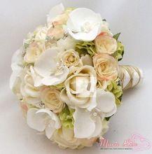 2014 New Fashion Wedding Bridal Bouquet Handmade Beading Orchid Width 23 CM Wedding Accessories Brooch Flowers 150130022(China (Mainland))
