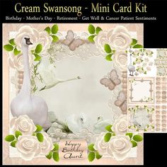 Cream Swansong Mini Card Kit Lots Of Sentiments, I have included Cancer patient sentiments in this kit, due to a recent bunch of requests on other card sites, and we all know someone who could do with a boost, and they can go for other encouragement. You get: Topper Elements Tags Insert Sentiments: Happy Birthday Birthday Wishes Happy Mothering Sunday Happy Mothers Day Happy Mother's Day Mom Happy Mother's Day Mum Happy Mother's Day Aunt Happy Mother's Day Sister Happy Birthday Sister Happy…