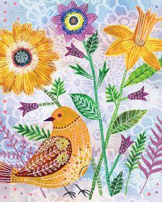 Floral Flight-Bird on Lavendar art by Lori Siebert by LoriSiebertStudio on Etsy
