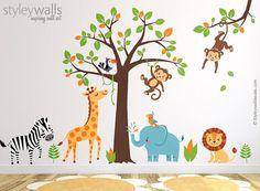 Jungle Wall Decal Safari Wall Decal Jungle Animals Wall Jungle Theme Nursery, Jungle Bedroom, Elephant Nursery Decor, Jungle Safari, Nursery Wall Decals, Safari Animals, Wall Mural, Wall Sticker, Animal Wall Decals