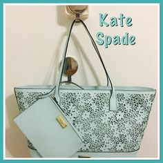"""HP 😍SALE💚 KS Seafoam green leather bag w/pouch NWT Kate Spade Margareta leather tote with matching pouch. Lacey details on front and back. Matching KS signature lining with one zip, and two slip pockets. Measures 18"""" L x 12"""" H x 4/6"""" D Dog clip closure on bag. Pouch has zip closure, can be removed, and has long dog key clip key fob attachment. 💚😍 Gorgeous to compliment any summer outfit 😎💚 Ask about free shipping 👍 kate spade Bags Totes"""