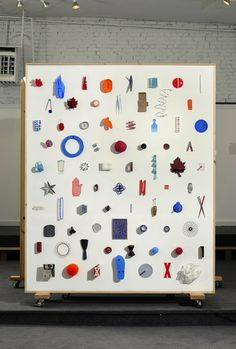 Ideal X, object arrangement installation (based on the color palette of shipping containers) by Therese Buchmiller