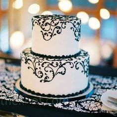 black and white two tier wedding cakes - Google Search