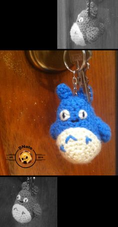 "Blue crochet Totoro keychain  from ""My neighbor Totoro"". Made with amigurumi technique, acrylic wool and fiberfill stuff. Take a look at my Etsy store: https://www.etsy.com/shop/DNata"