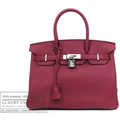 SOLD ITEMS - Authentic Hermes Birkin 30 Bag Rubis Clemence NEW -... ❤ liked on Polyvore