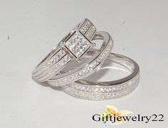 Diamond Trio Set His & Hers Matching Engagement Ring Wedding Band 10K White Gold #giftjewelry22