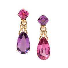 Goshwara Rubellite & Amethyst Linked Drop Earrings