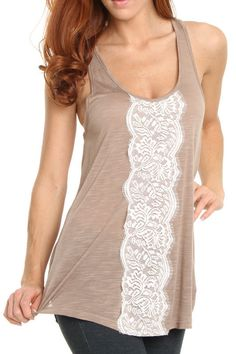 Lace detail tank top