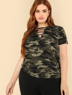 2c7b4d935aca1 Strappy Neck Camo T-shirt. Trendy Plus SizePlus ...