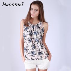 2017 summer blouse floral chiffon women sleeveless tops comfortable Soft thin shirt loose round collar blusa feminina C262