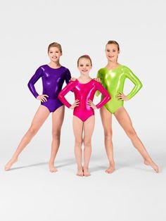 Child Metallic Long Sleeve Gymnastic Leotard - Style No G545C