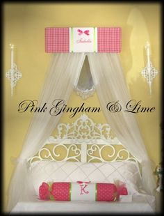 pink lime crib canopy | ...  Canopy Princess CROWN Embroidered FrEe Monogram Gingham Hot Pink Lime