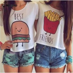 best friends printed tees, t shirts for friends, fries and hamburger friends t shirts - Crystalline