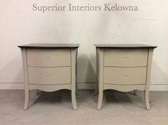 Custom furniture refinishing by Superior Interiors Kelowna- Side tables refinished using Superior Paint Co. Burlap, Saman Mahogany stained tops and sealed with Superior Semi Gloss Top Coat.