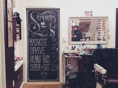Hicks' Barbershop Chalkboard Price Menu