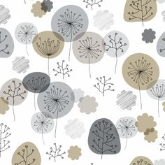 Soft toned beige pattern of abstract flowers and leaf branches