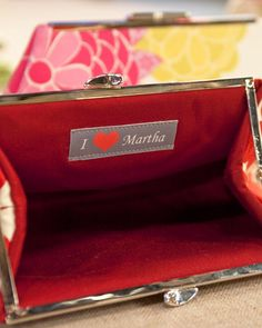 Monogrammed Clutches with a Message Label sewn inside. Learn the step-by-step from Martha Stewart.