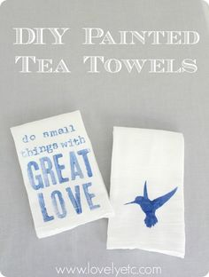Hand-painted tea towels - the perfect gift for Mother's Day