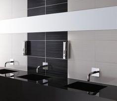 Black bathroom Tile Ideas Inspirational Decoration 19 On Bathroom Design Ideas White Subway Tile Bathroom, Black And White Tiles Bathroom, White Bathroom Decor, Bathroom Wall, Bathroom Ideas, Marble Bathrooms, White Sink, Master Bathrooms, Bathroom Faucets