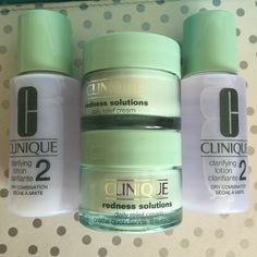 New& unused Clinique redness solution cream This set includes 2 of 15ml Redness solution daily cream 2 of 30ml Clarifying lotion 1 cosmetic bag   Price FIRM Clinique Other