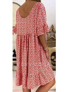 Casual Knee Length V-neck Cotton Blends Print Sleeves Print Floral Shift Dresses, veryvoga Simple Dresses, Elegant Dresses, Sexy Dresses, Casual Dresses, Short Sleeve Dresses, Dresses For Work, Summer Dresses, Formal Dresses, Wedding Dresses