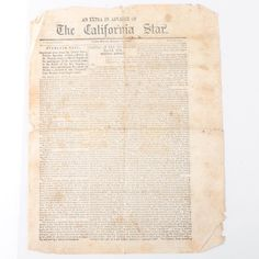 """An extra edition of The California Star dated October 24, 1846. This newspaper extra from Yerba Buena, the present-day San Francisco, features a reprint of General Zachary Taylor's official report of the Battle of the Rio Grande, the first battle of the Mexican-American War (today known as the Battle of Palo Alto). This single page has three columns of print on both sides and is headed """"An Extra in Advance of The California Star; S. Brannan, Printer; Yerba Buena, October 24, 1846; Price One…"""
