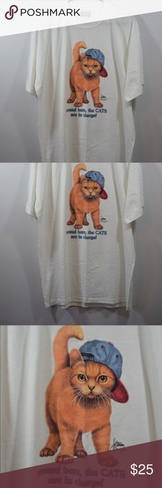 """Expression Originals Cat T Shirt Expression Originals Cat T Shirt """"Cats Are In Charge"""" . Shirt is in excellent condition. Size XL with measurements in inches Length:30"""",Chest:23.5"""",Sleeve:8.5 Made In California Animal Tops Tees - Short Sleeve"""